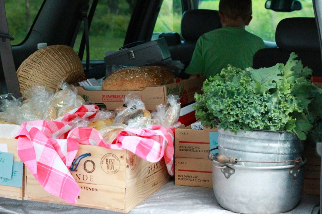 The back of the car, starting to load up for Farmer's Market!