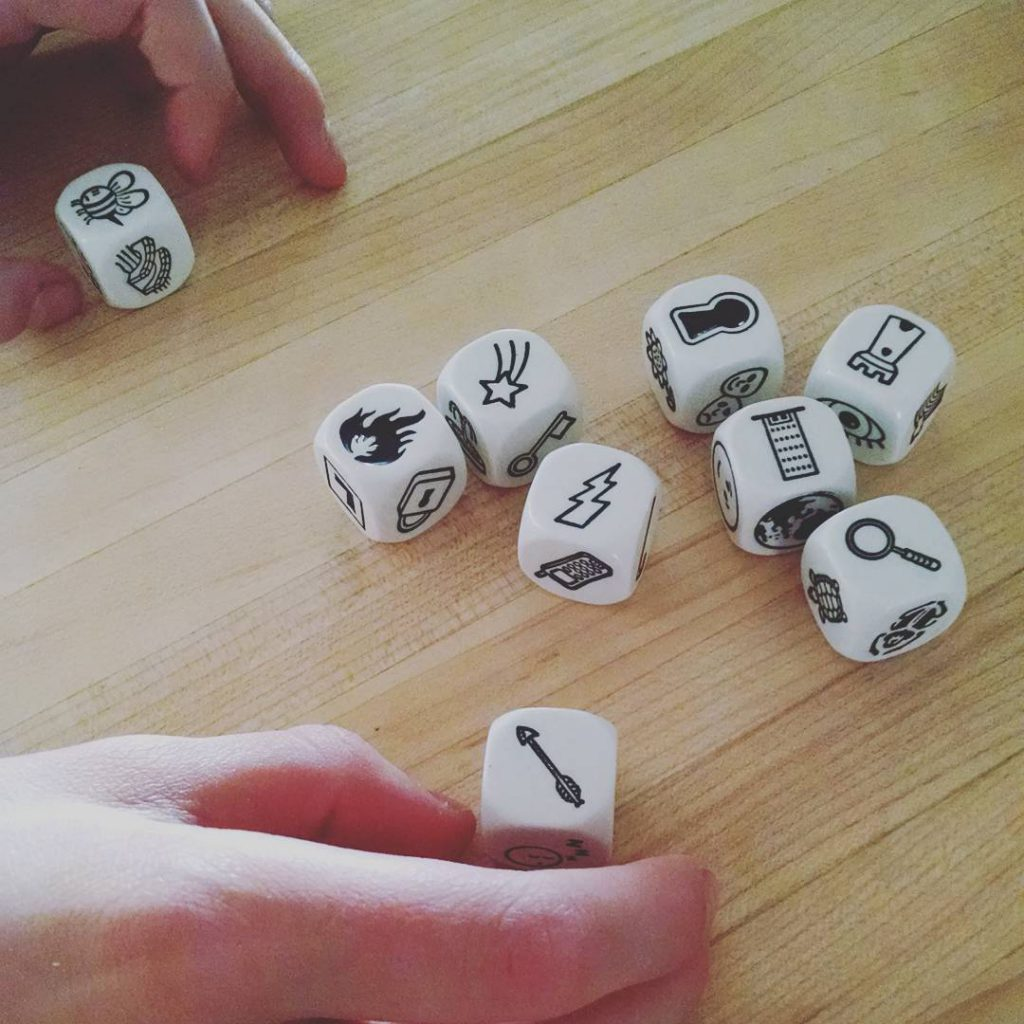 Mack and I love playing with the story cubes!
